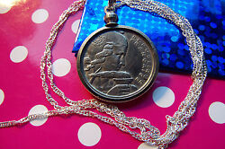 Classic France 100 Franc Coin Pendant 28 925 Sterling Silver Wavy Twist Chain