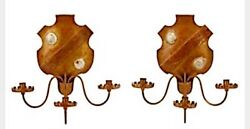 Italian Tole Wall Candle Shield Sconces | Pair