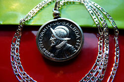 Antique Conquistador Coin Jewelry Pendant On A 24 .925 Sterling Silver Chain
