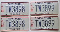 New York 1980's Tractor Consecutive Number License Plate Pairs Tw3898-tw3899