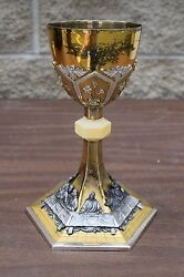 + Old Traditional Chalice With The Last Supper On The Base All Silver Fc120