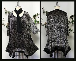 Designer Plus size top Lagenlook boho High end Fabric Tunic with Scarf $59.00