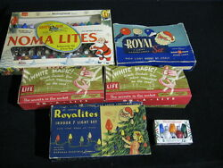 Lot Of 6 Vintage Christmas Lights 60 Streamer Lights, Noma, White Magic In Boxes