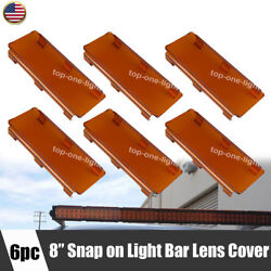 6x 8 Inch Snap On Amber Curved Straight Led Light Bar Lens Cover 50 52 54