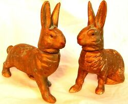 Antique Rabbit Candy Containers Pair Germany Glass Eyes Antique