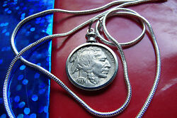 Antique Handsome Buffalo Nickel Pendant On 24 925 Sterling Silver Snake Chain