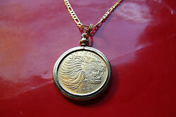 Leo Lion Coin Golden Brass Bezel Coin Pendant On A 28 Gold Filled Figaro Chain