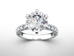 2.50 cts ROUND CUT HSI2 DIAMOND SOLITAIRE ENGAGEMENT RING 14K WHITE GOLD