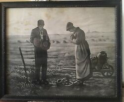 Antique Original Taber Prang Art Lithograph Print The Angelus Wall Hang Picture
