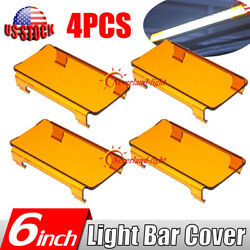 4x 6'' Inch Snap On Amber Lens Cover Offroad Led Light Bar 4wd 50 52 54 42