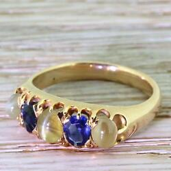 Victorian Cat's Eye Chrysoberyl And Sapphire Five Stone Ring - 15k Gold - C 1900
