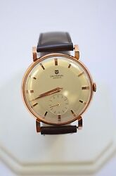 W560 Men's 18k Rose Gold Universal White Dial Brown Leather Watch