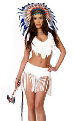 Forplay Native American Indian Summer White Fringe Costume 4pc 555235