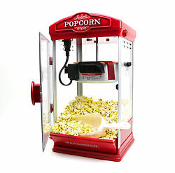 8oz Red Popcorn Maker Machine By Paramount - New 8 Oz Capacity Theater Popper