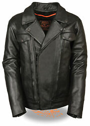 Mens Black Leather Motorcycle Jacket W/ Dual Side Utility Pockets Tall Sizes