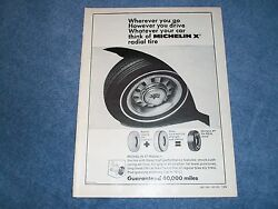 1969 Michelin X Radial Tires Vintage Ad With Ford Gt Wheel Mustang Torino