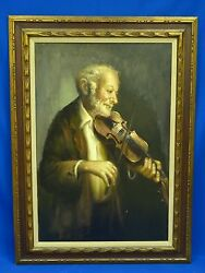 Fabulous Early 20c. Signed Oil Painting Of Fiddle Player 24 X 36