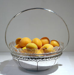 Spanish Sterling Silver Round Basket W/cut Glass Liner C. 1930s