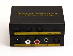 3x1 Digital Optcal Audio Switcher Converter Dolby Decoder + Analog RCA 3.5mm OUT