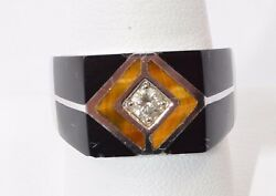 3133-14k White Gold Diamond And Onyx Tiger Eye Mens Ring Approx 0.20cts 13.3 Grms