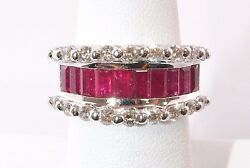 3129-14k White Gold Ruby And Diamond Ring Approx 3.80tcw 7.70 Grams Size 7