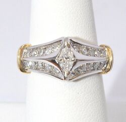 3209-14k Two Tone Gold Diamond Ring Approx 1.00cts 5.80 Grams Size 7