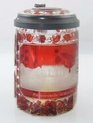 Antique Bohemian Ruby Engraved Glass Tankard Depicting Important Buildings