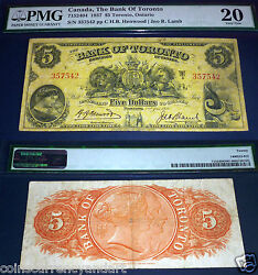 Bank Of Toronto , Canada Chartered Banknote, 1937 5 Pmg 20