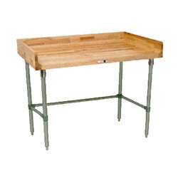 John Boos Dsb08 Wood Top Work Table W/ Stainless Base 72 W X 30 D