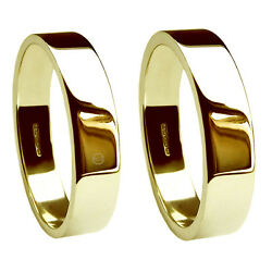 8mm 18ct Yellow Gold Flat Profile Wedding Rings 750 Uk Hm Heavy Extra Heavy Band
