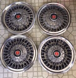 Set Of 4 1977 78 79 80 81 Ford Ltd Mustang Granada 14 Spoked Wire Hubcaps