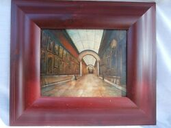 Mystery Painting Oil On Wood Museum Art Gallery Paintings In An Interior Scene
