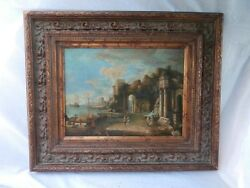 Incredible Genre Venice Italian Old World Ruins In A Port City With Boats O/w