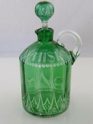 C.1900 Cut Clear And Green Glass Whiskey Decanter
