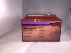 617 Foot Prints in the Sand Funeral Memorial Cremation Urn with Free Text