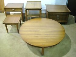 Five Pieces Willett Solid Cherry Trans-east Mid-century Modern Tables