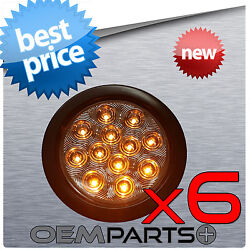 6pc New 4 Round Clear Lens/amber 12v Led Light Turn Stop Signal Truck Trailer