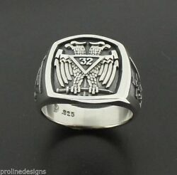 Scottish Rite 32nd Degree Double Eagle 005o Sterling Silver .925 Masonic Ring