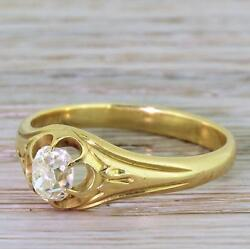 Victorian 0.59ct Old Cut Diamond Solitaire Engagement Ring - 18k Gold - C 1900