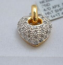 3735-14kt Two Tone Gold Diamond Heart Pendant 0.59cts 4.62grams