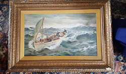 Superb Oil Late 19thc Sea Scape Men In Sail Boat - Under Glass And Framed - Signed