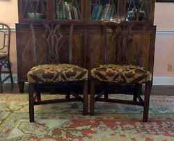 Pair of George III Carved Mahogany Chippendale Design Side Chairs Antiques