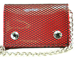 Fishnet Patent Trifold Bikers Wallet With Chain Punk Goth And Rockabilly