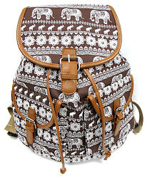 16quot; Womens Canvas Backpack Leather Trim Padded Strap Brown White ELEPHANT Print $22.99