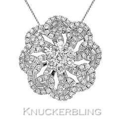 0.85ct Diamond Flower Shape Pendant In 18ct White Gold With Chain