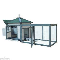 Pawhut Wooden Chicken Coop w Backyard Run and Nesting Box Hen House Poultry Pet