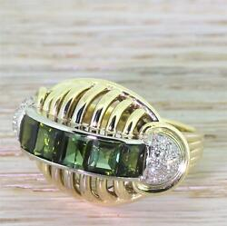 Retro 1.50ct Green Tourmaline And Diamond Cocktail Ring - 14k W And Y Gold - C 1945