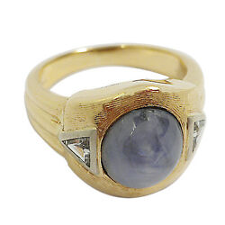 3379-14k Yellow Gold Star Sapphire And Diamond Ring Approx 4.19tcw 9.14grms Size 7