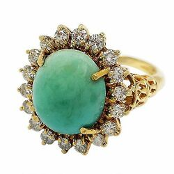 3435-18k Yellow Gold Turquoise And Diamond Ring Approx 9.14tcw 6.36grams Size 5.25
