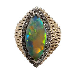 3434-14k Yellow Gold Opal And Diamond Ring Approx 2.52tcw 14.33grams Size 8